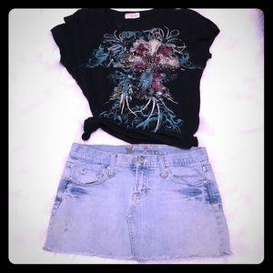 Outfit- Wet Seal mini SZ 1/2 & t shirt SZ S